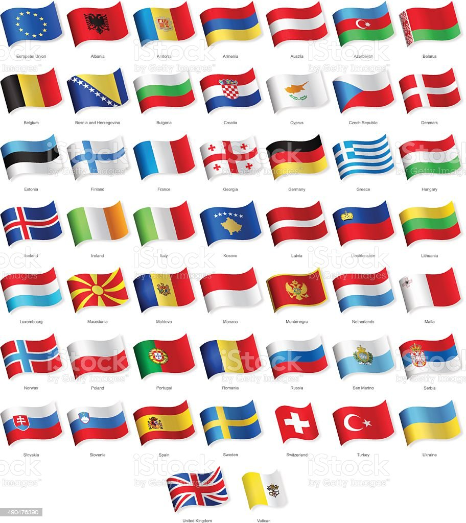 Europe - Waving Flags - Illustration vector art illustration
