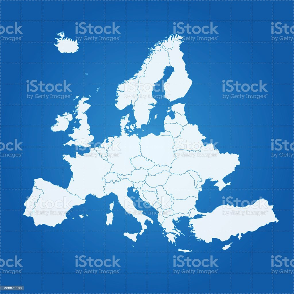 Europe white map on blue gradient grid background vector art illustration
