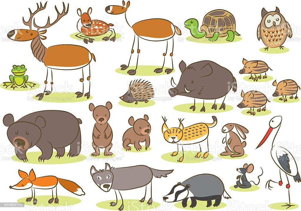 European animals kids drawing stock vector art 531924772 - Animal drawwing kids ...