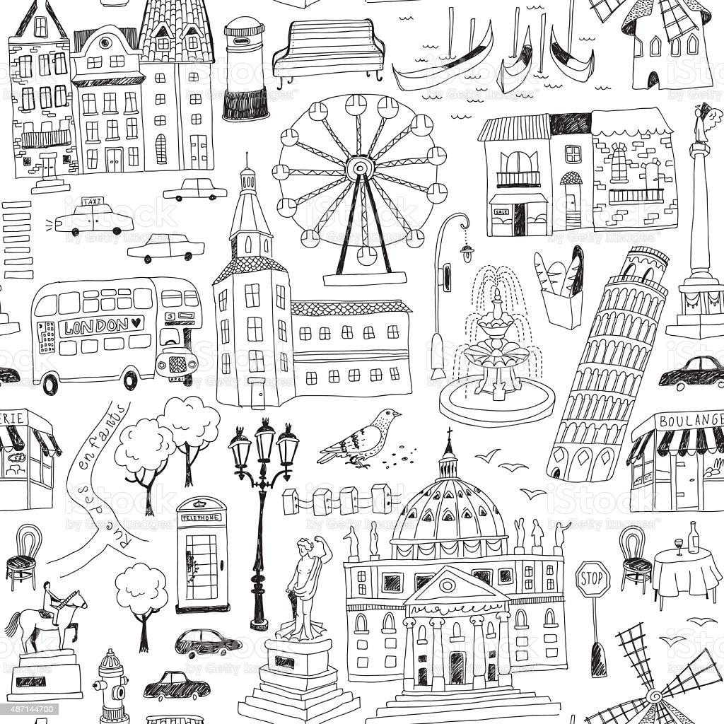 European architecture vector art illustration