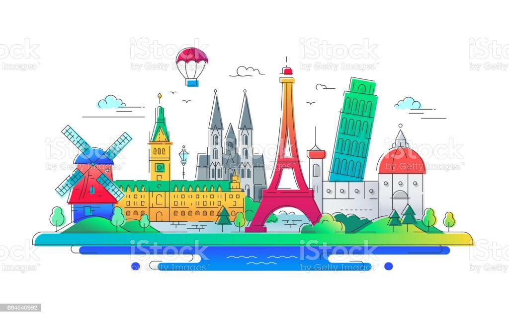 European countries - vector line travel illustration vector art illustration