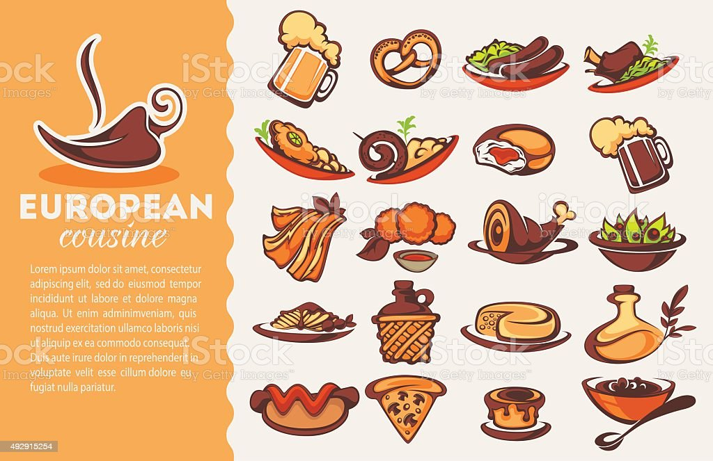 european cousine, vector collection vector art illustration