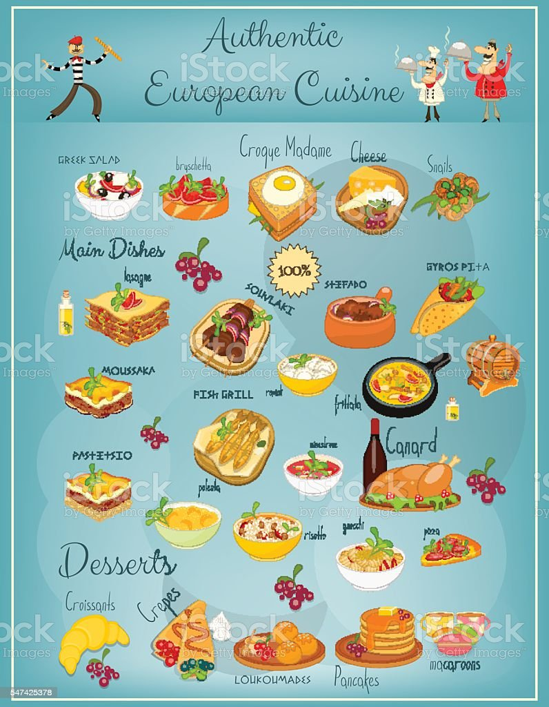 European Cuisine Menu vector art illustration