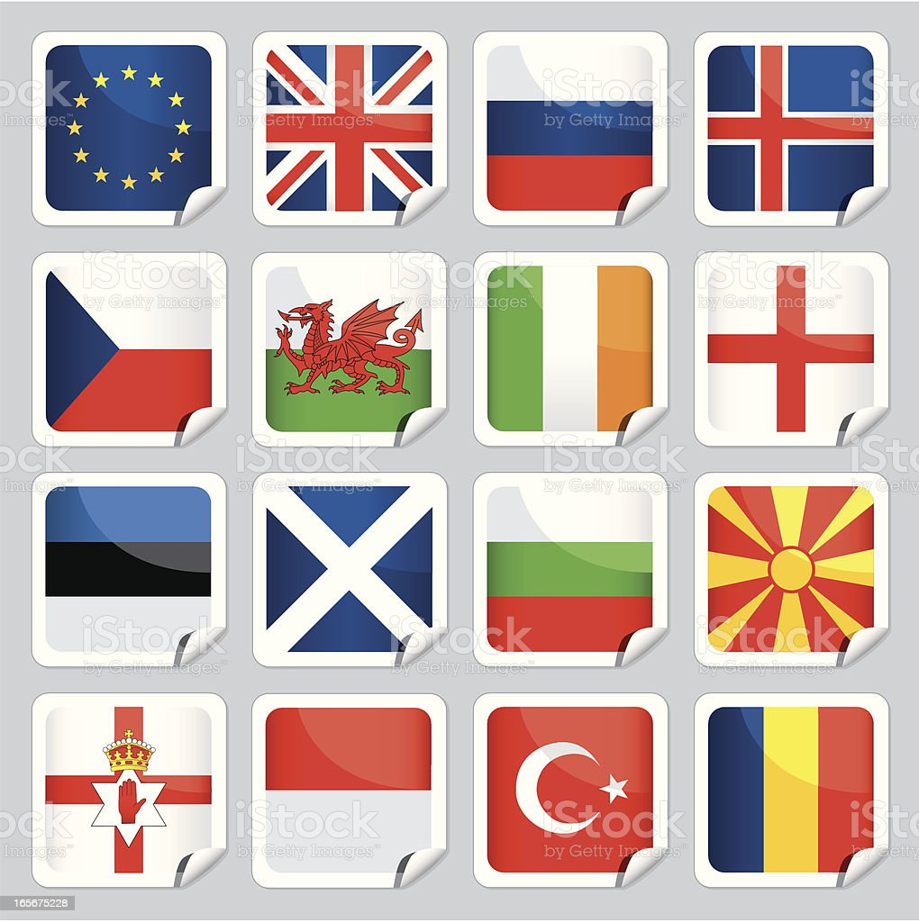 European flag icons vector art illustration