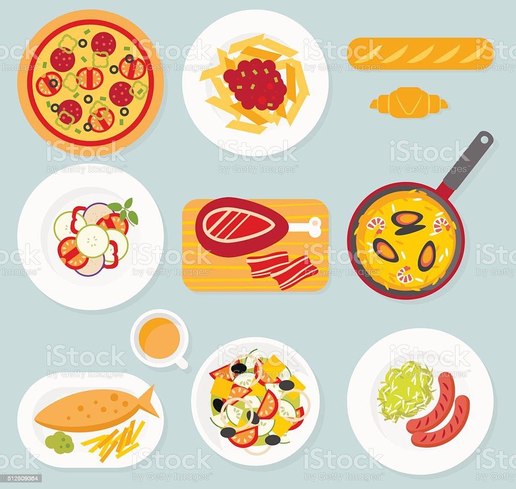 European food set vector art illustration