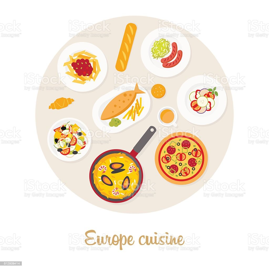 European food set vector art illustration
