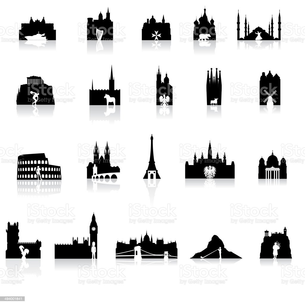 European Icons Super Set vector art illustration