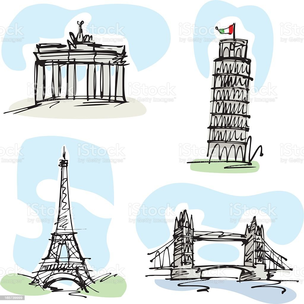 European landmark buildings vector art illustration