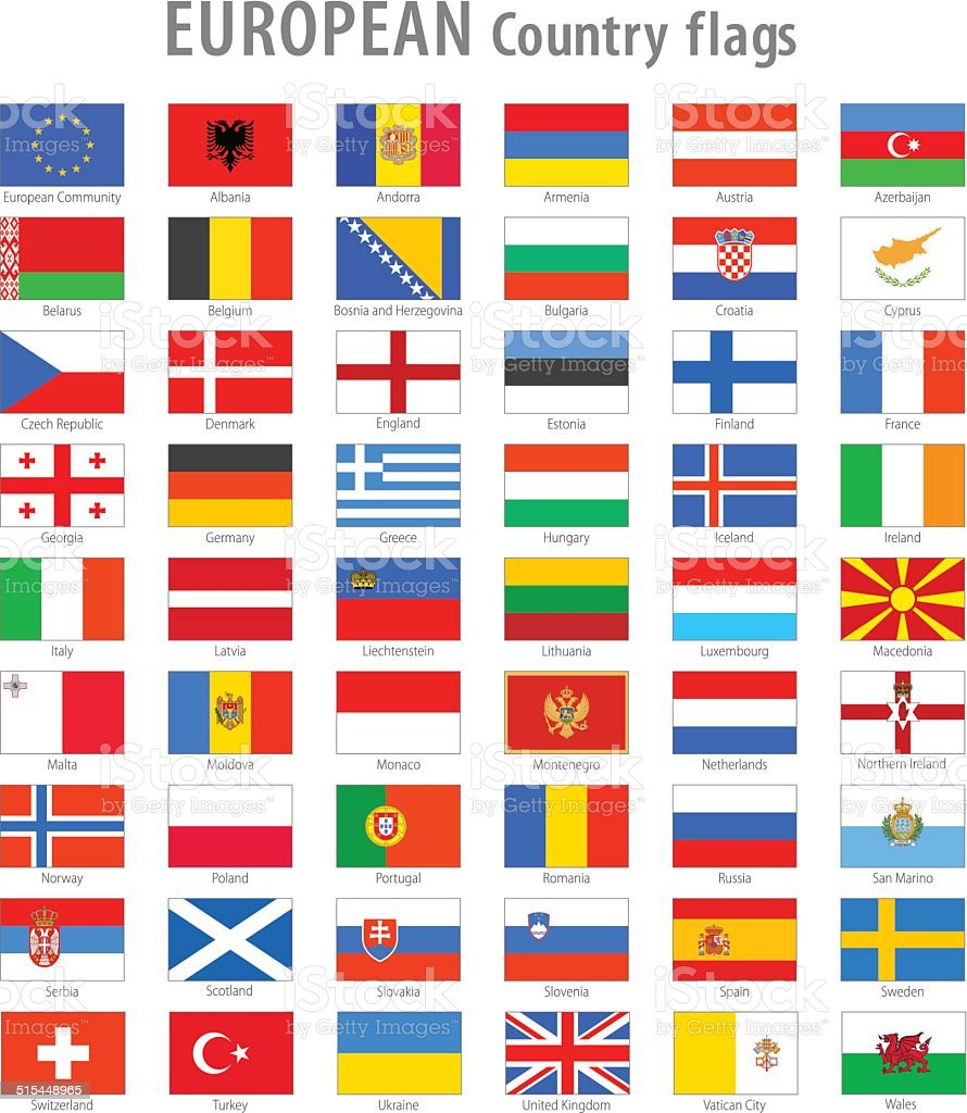 European National flag Vector Icon set vector art illustration