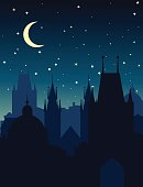 European night cityscape. Vector silhouette of Prague.