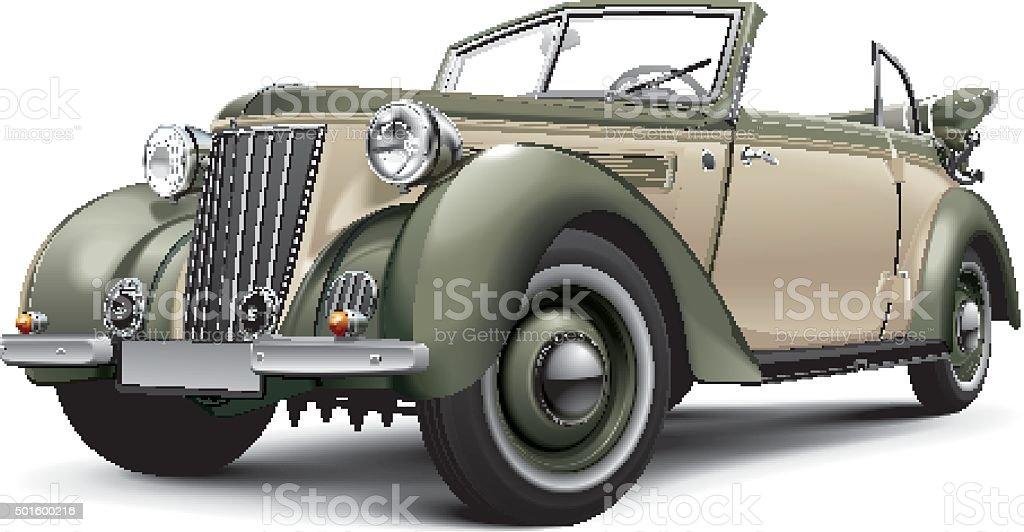 European prewar luxury convertible vector art illustration