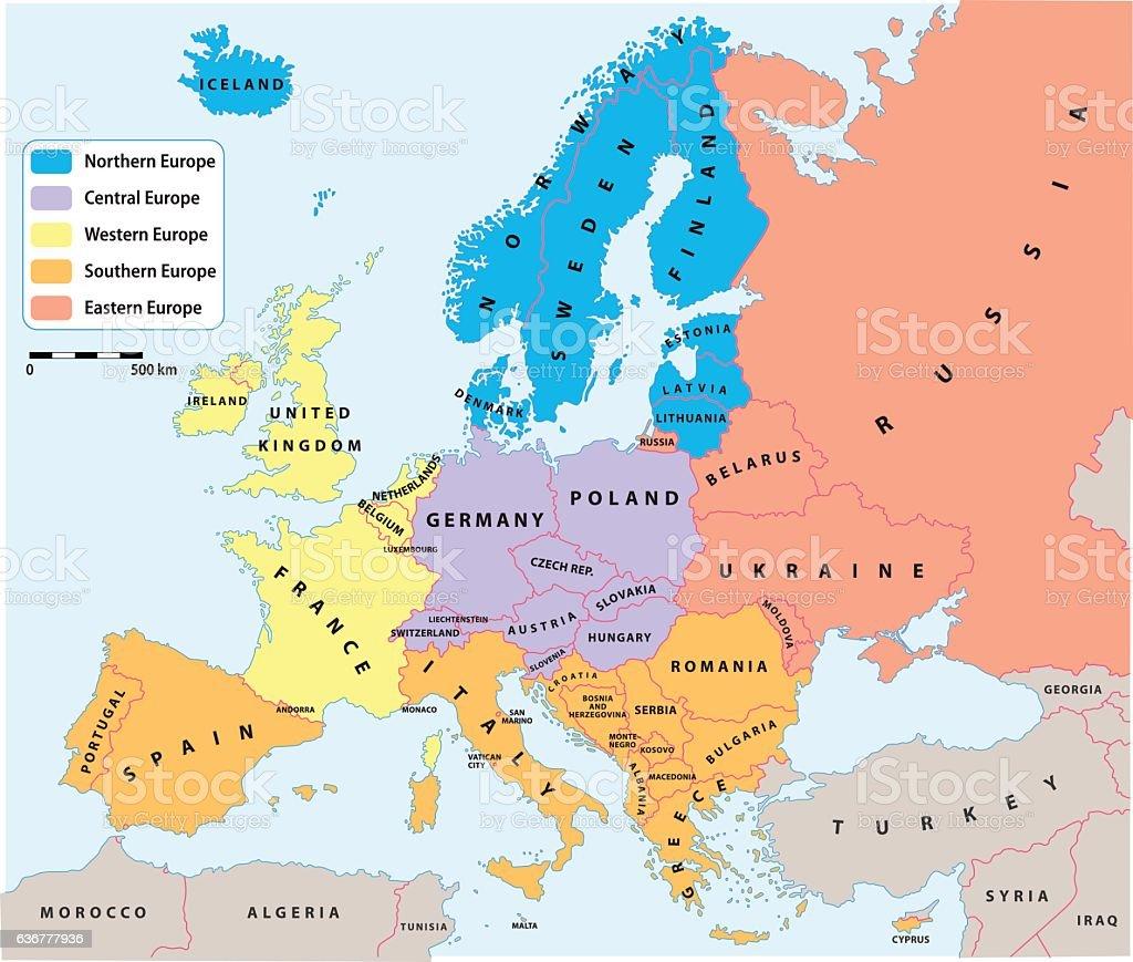 European regions on Europe political map vector art illustration
