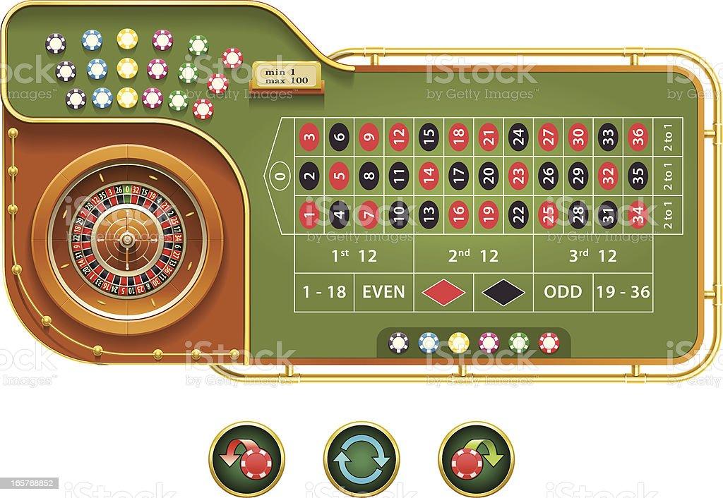 European Roulette interface vector art illustration