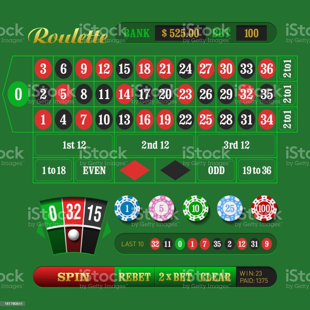 European Roulette royalty-free stock vector art