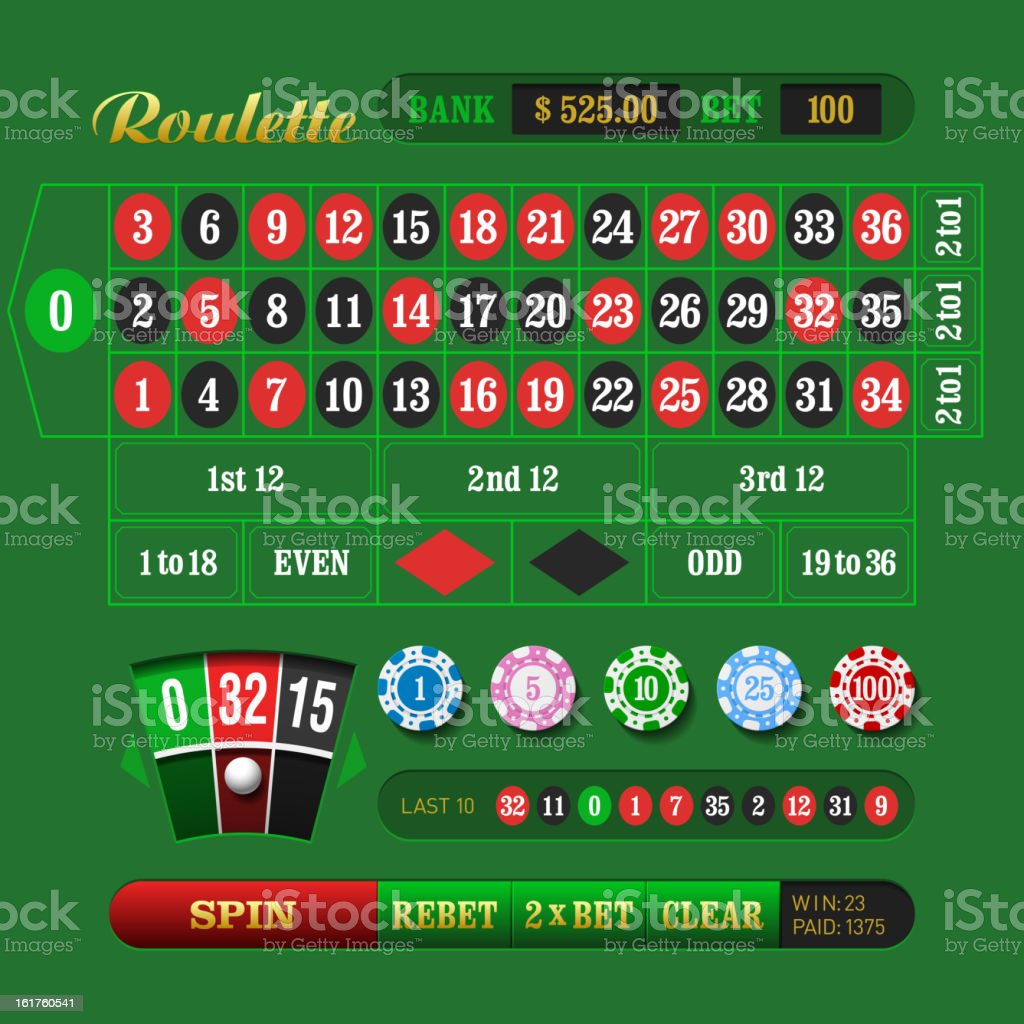 European Roulette vector art illustration