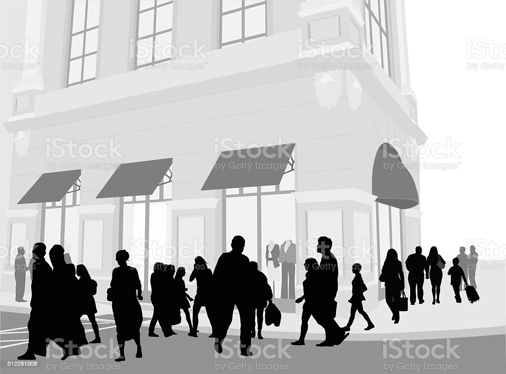 European Street Crowd vector art illustration