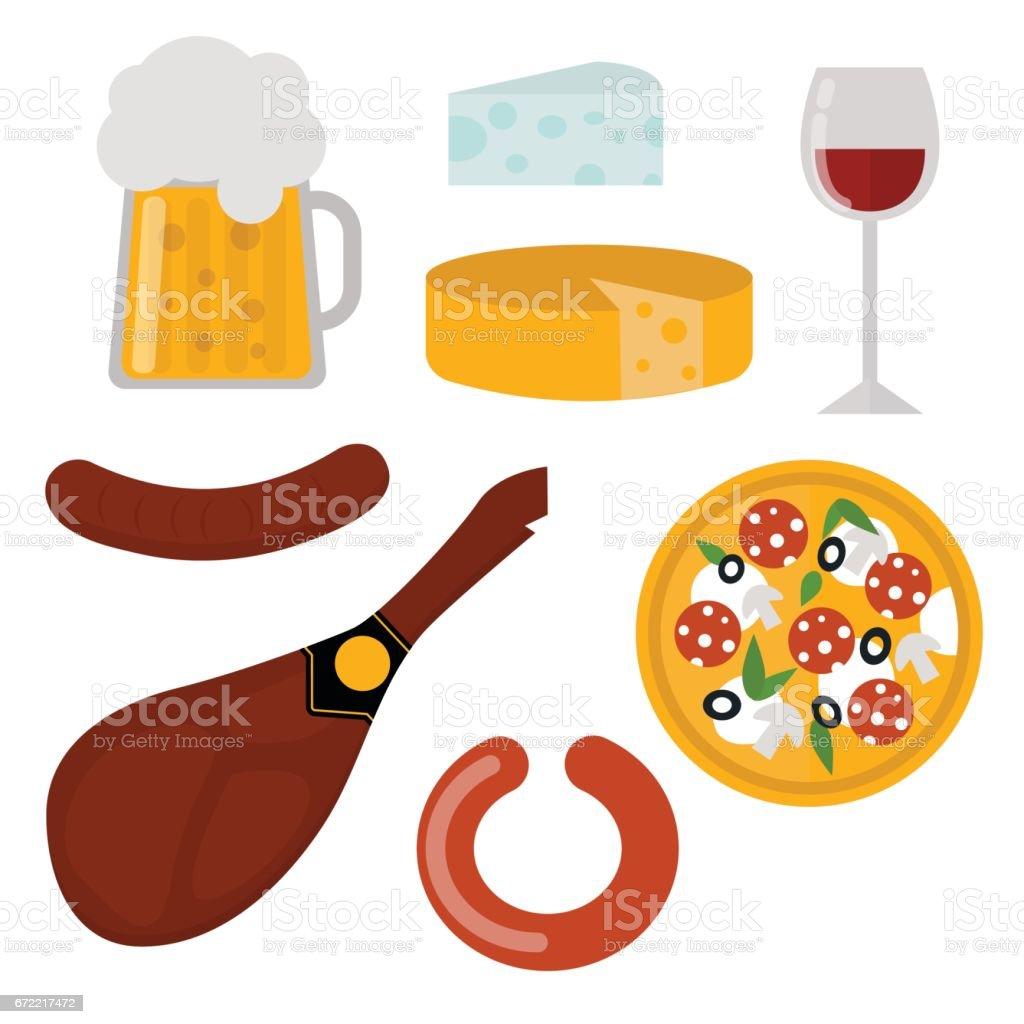 European tasty food cuisine dinner food showing delicious elements flat vector illustration vector art illustration