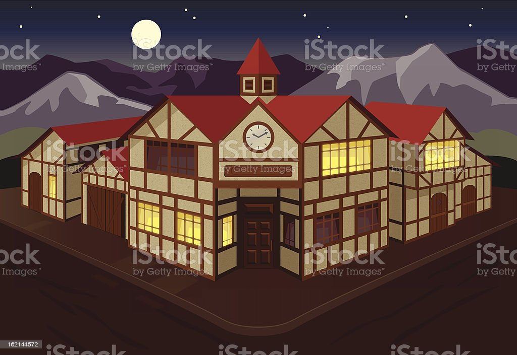 European town square at night royalty-free stock vector art