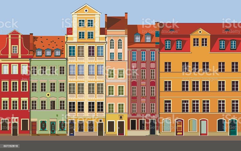 European town vector art illustration