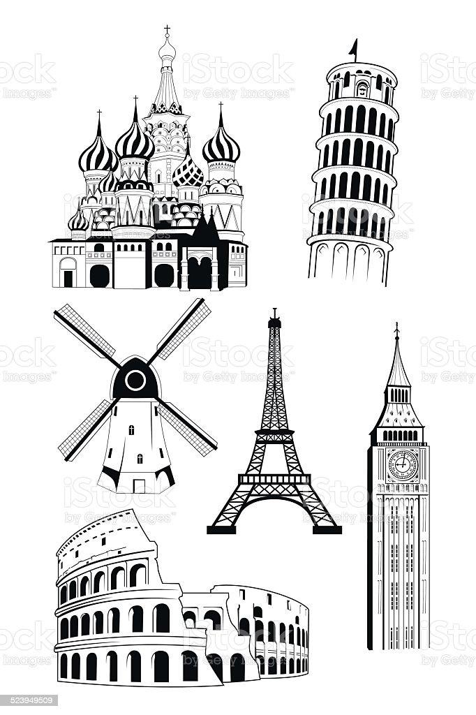 European travel destinations in ink style vector art illustration