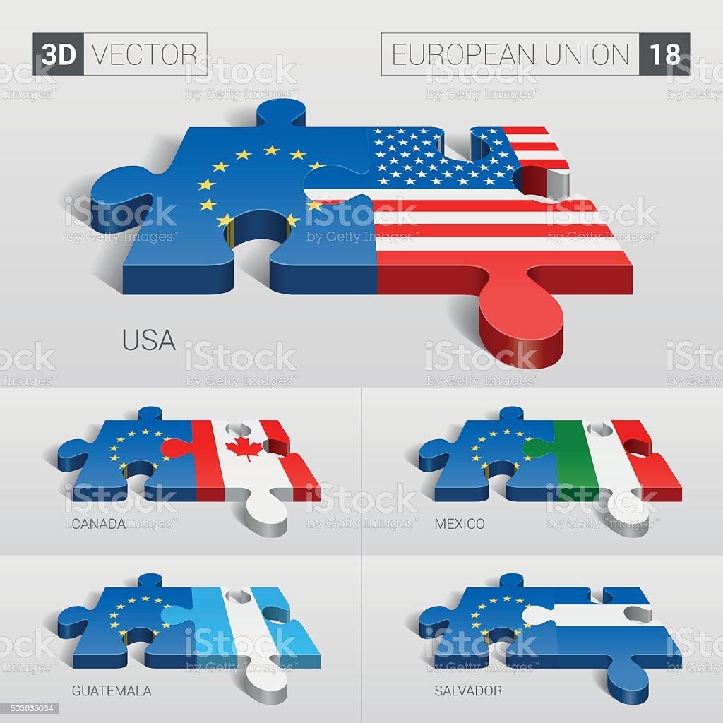 European Union and Flag. 3d vector puzzle. Set 18. vector art illustration