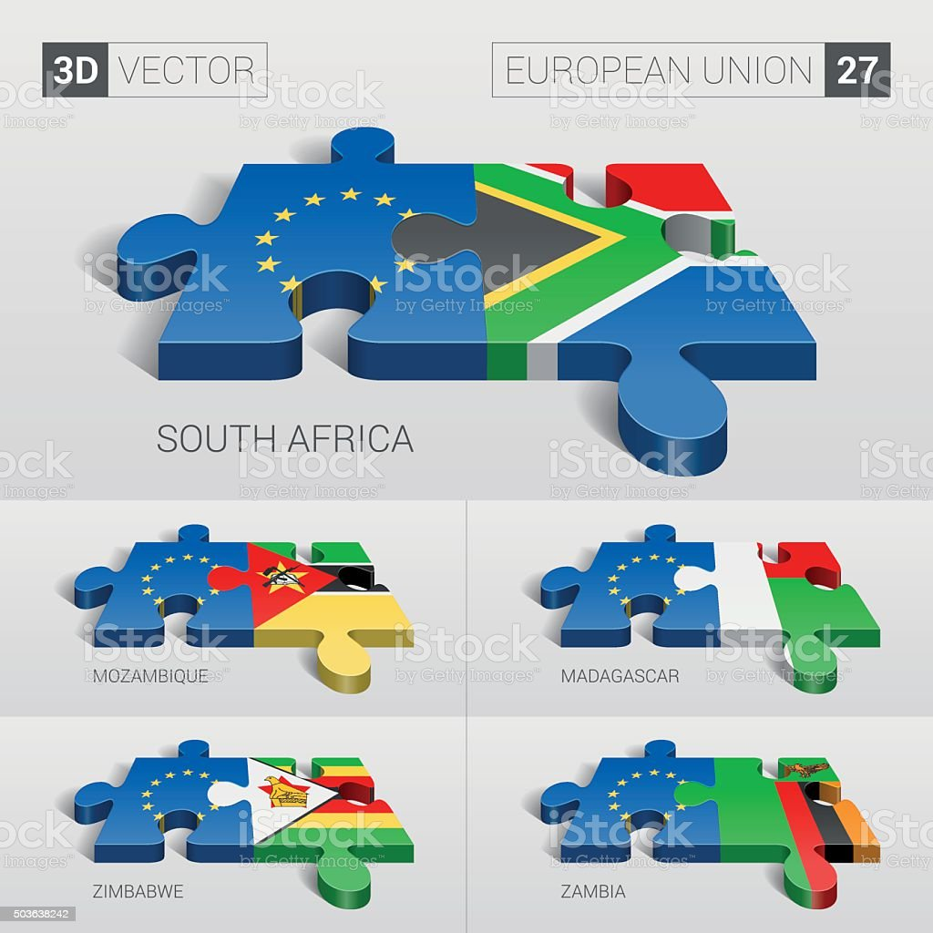 European Union and Flag. 3d vector puzzle. Set 27. vector art illustration