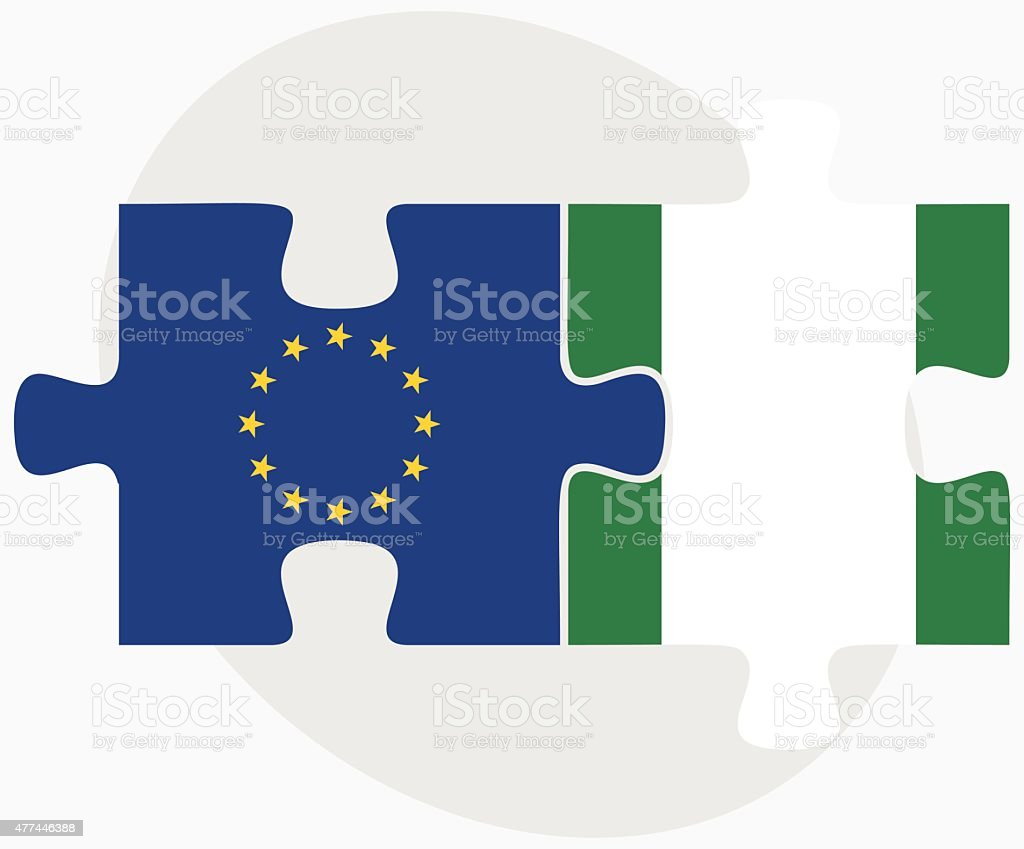 European Union and Nigeria Flags in puzzle vector art illustration