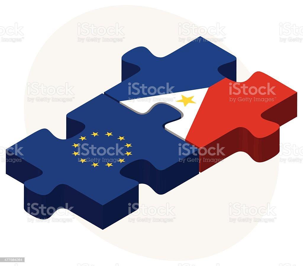 European Union and Philippines Flags vector art illustration