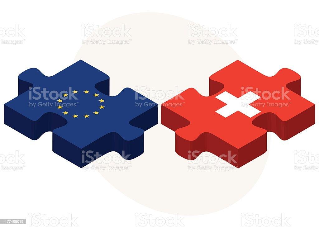 European Union and Switzerland Flags vector art illustration