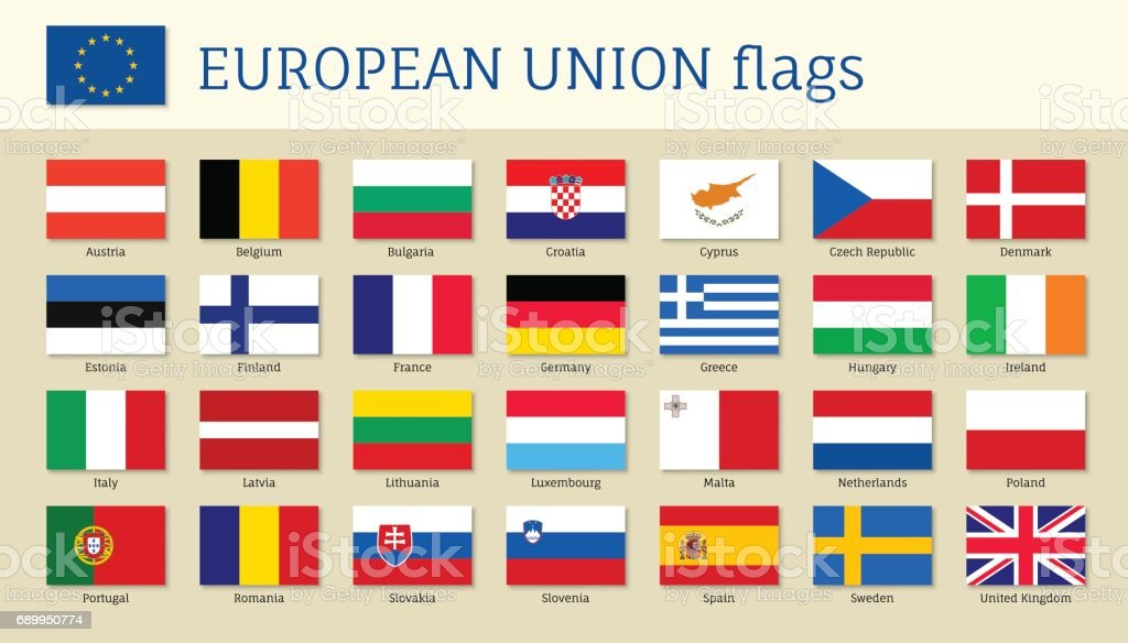 European union big set flags vector art illustration