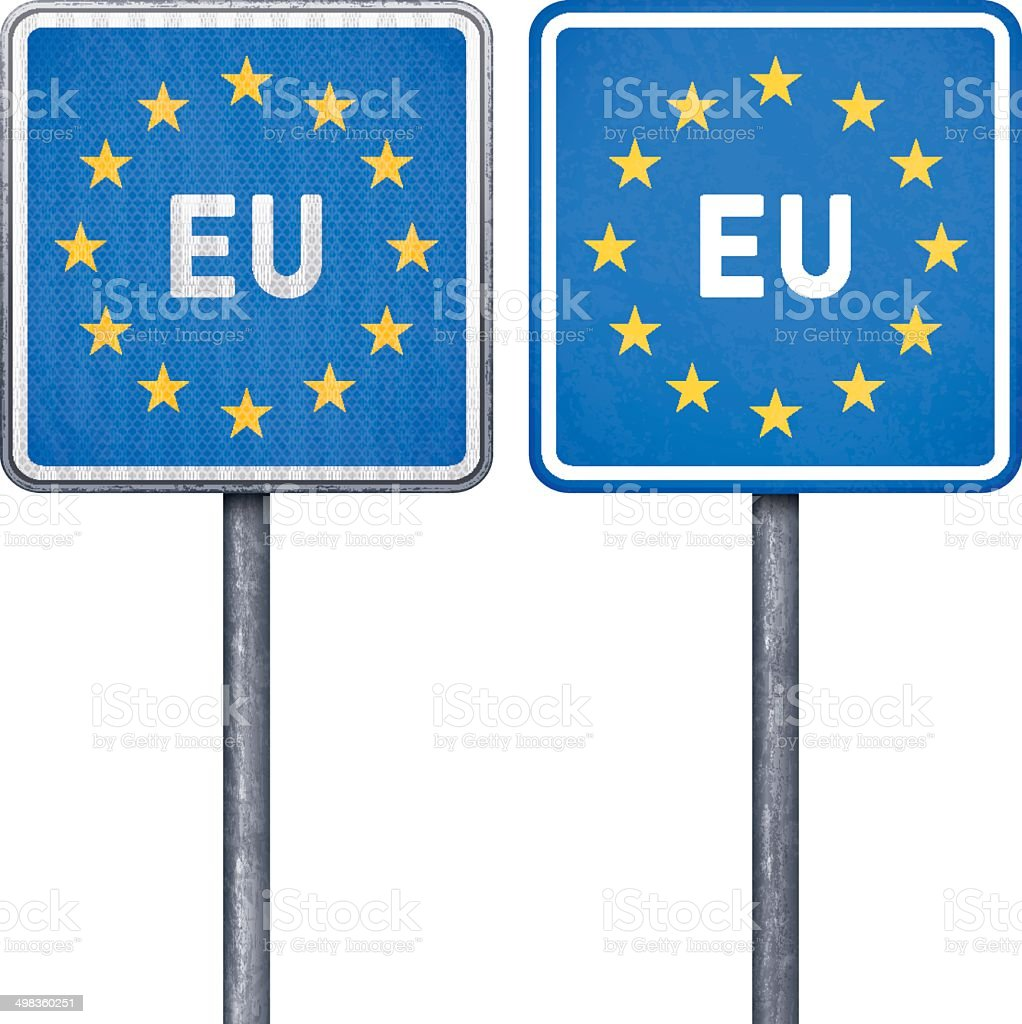 European Union border road sign with European flag royalty-free stock vector art