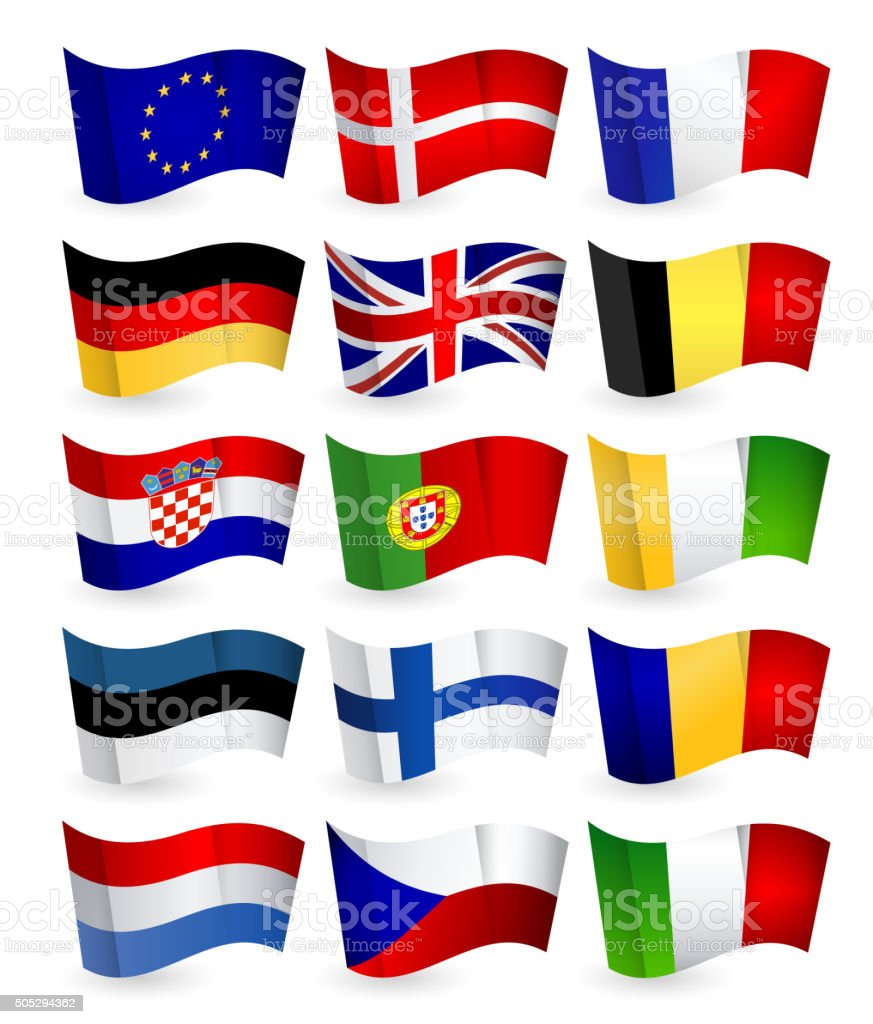 European Union country flying flat flags pack set 1 vector art illustration