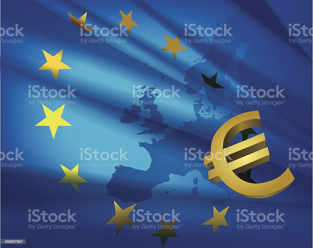 European union flag and euro vector art illustration