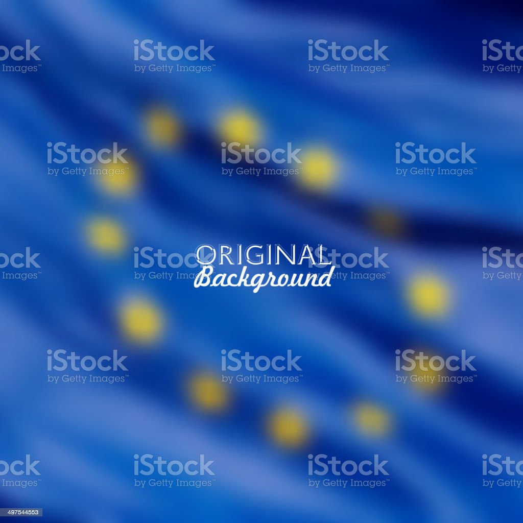 European Union flag blurred background vector art illustration