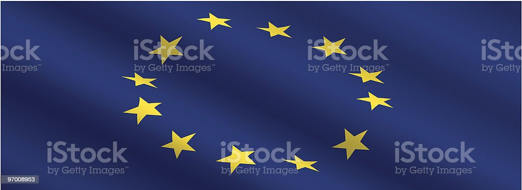European Union Flag Flowing in the Wind royalty-free stock vector art