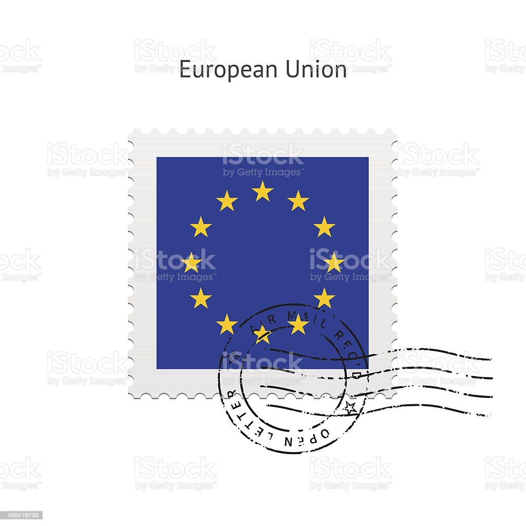 European Union Flag Postage Stamp royalty-free stock vector art
