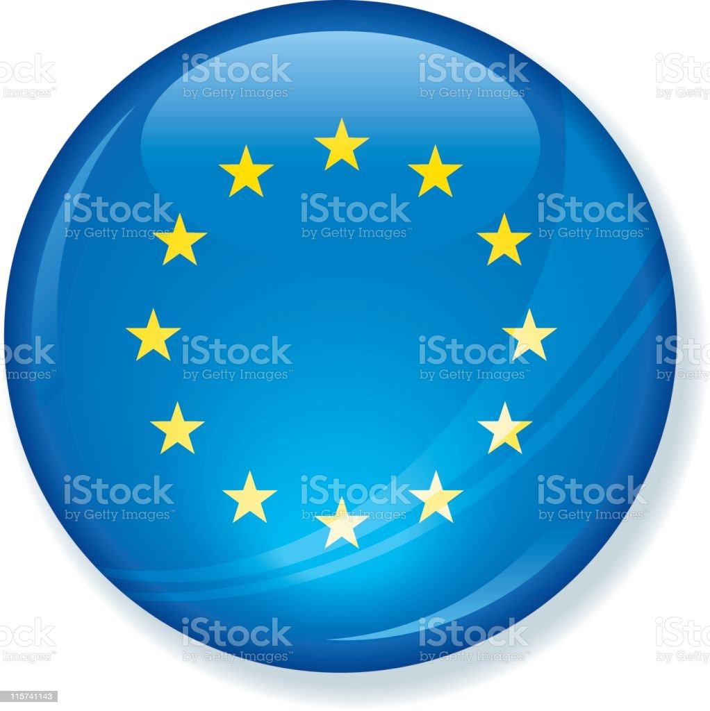 European Union Flag Super Glossy Button royalty-free stock vector art