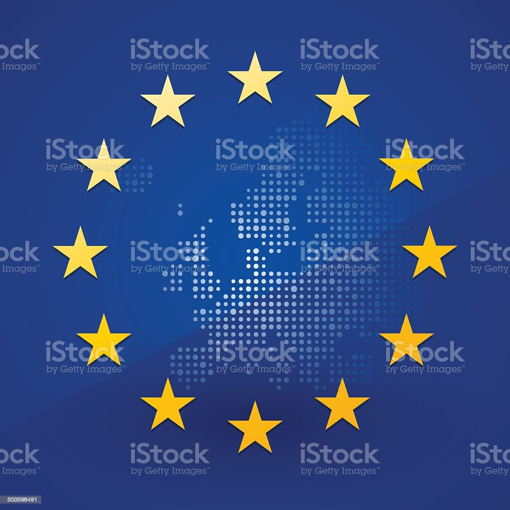 European Union flag with a map in the background vector art illustration