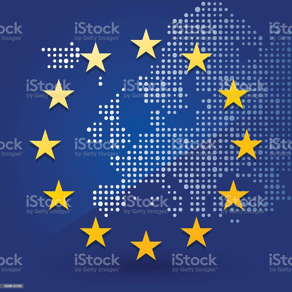 European Union flag with a map vector art illustration
