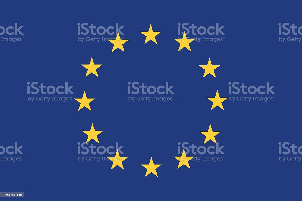 European Union flag with blue background and yellow stars vector art illustration