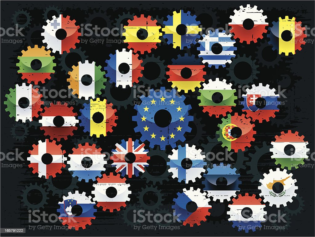 european union flags cogs royalty-free stock vector art