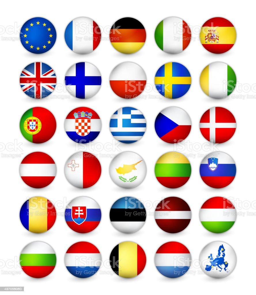 European Union Flags round badges vector art illustration