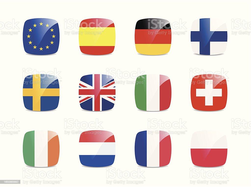 European Union Flags royalty-free stock vector art