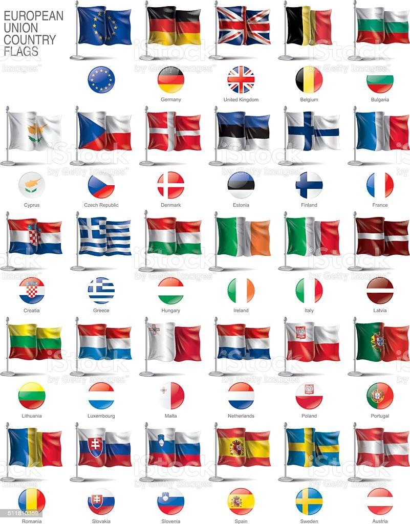 European Union flags. vector art illustration