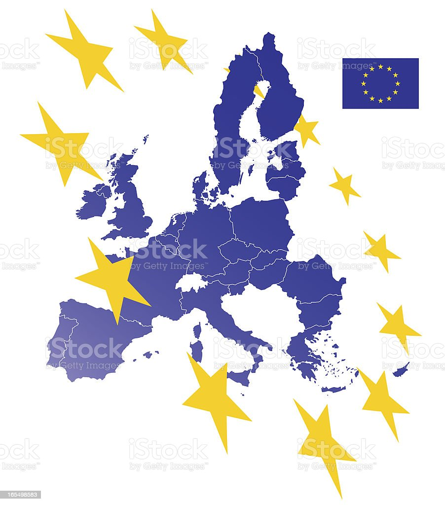 European Union Map (see Description - links to flags) royalty-free stock vector art