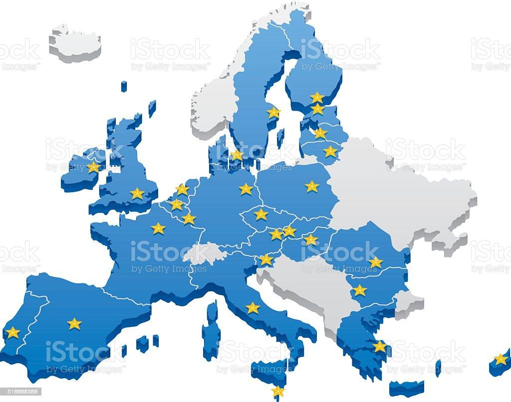 European Union Map vector art illustration