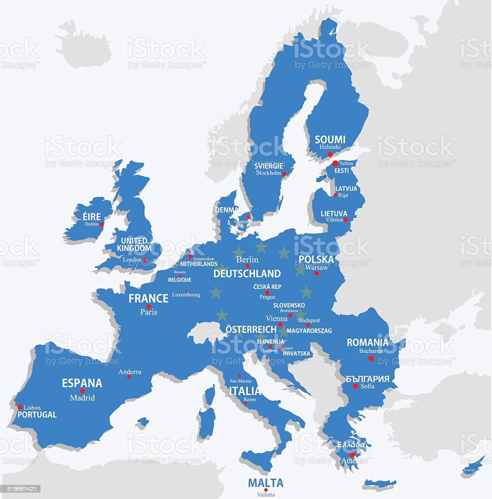 Union européenne, carte avec tous les pays de l'europe et le nom de Capitale stock vecteur libres de droits libre de droits