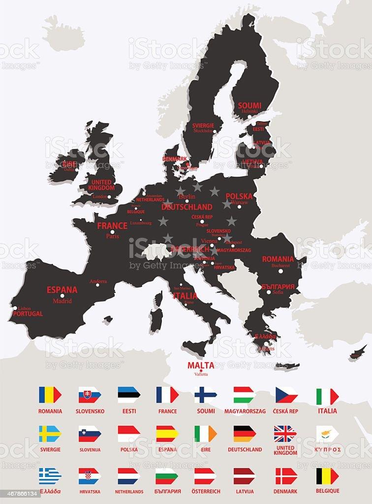 Union européenne, carte avec drapeau stock vecteur libres de droits libre de droits