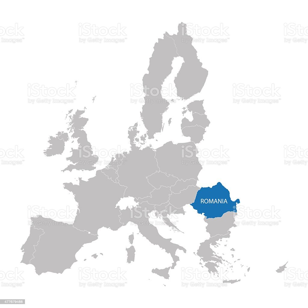 European Union map with indication of Romania vector art illustration