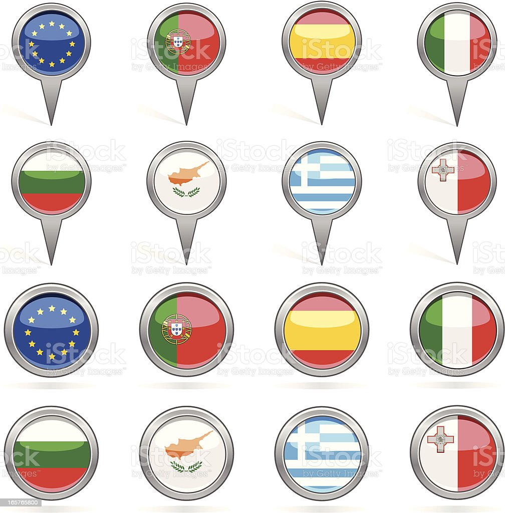 European Union member states flags icons royalty-free stock vector art
